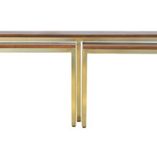 Solid Wood And Iron Gold Base Table Set of 3