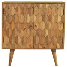2 Door Pineapple Carved Wooden Cabinet