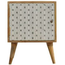 Screenprint Geometric Door Bedside Table