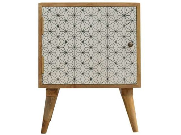 Screenprint Geometric Door Bedside Table