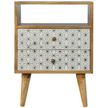 2 Drawer Screen-Printed Geometric Design Bedside Table with Open Slot