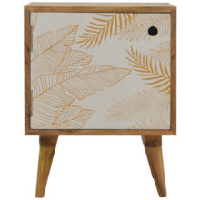Screen-printed Door Front Leaf Design Bedside Table with Cut-out Slot