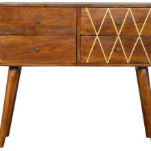Geometric Brass Inlay 4 Drawer Console Table