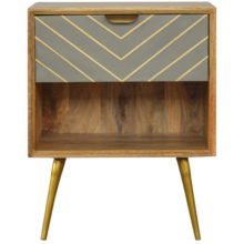 1 Drawer Nordic Style Sleek Cement Bedside Table with Brass Inlay