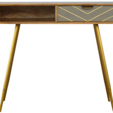 1 Drawer Nordic Style Cement Wooden Brass Inlay Writing Desk