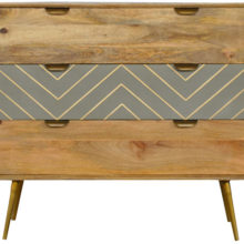 Nordic Style Cement 3 Drawer Wooden Chest of Drawers Brass Inlay