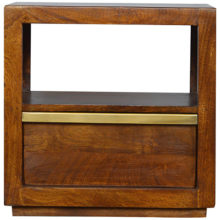 Chestnut Bedside Table with Gold Bar Drawer Pull