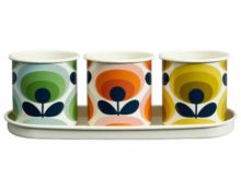 Orla Kiely 70s Flower Oval Herb Pots Set of 3 with Tray