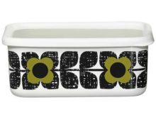 Orla Kiely Enamel Storage Container Large Scribble Square Flower