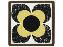 Orla Kiely Ceramic and Wood Trivet Primrose