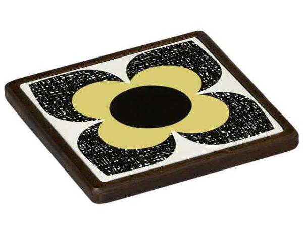 Orla Kiely Ceramic and Wood Trivet Scribble Square Flower Primrose