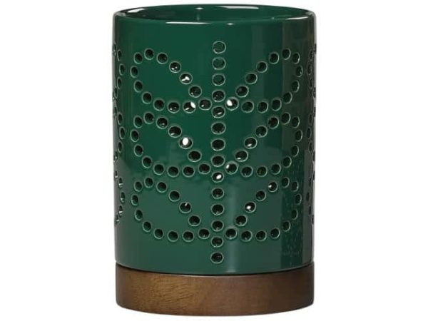 Orla Kiely Small Ceramic Lantern Linear Stem Evergreen