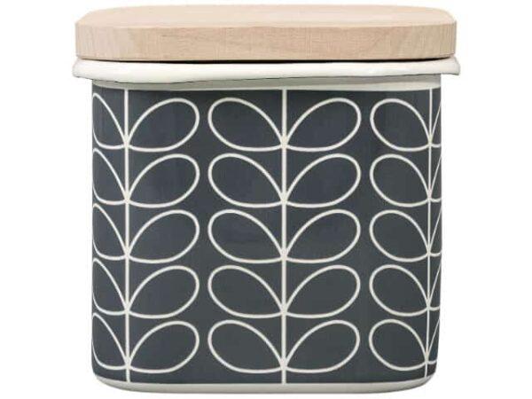 Orla Kiely Enamel Storage Jar Linear Stem Slate