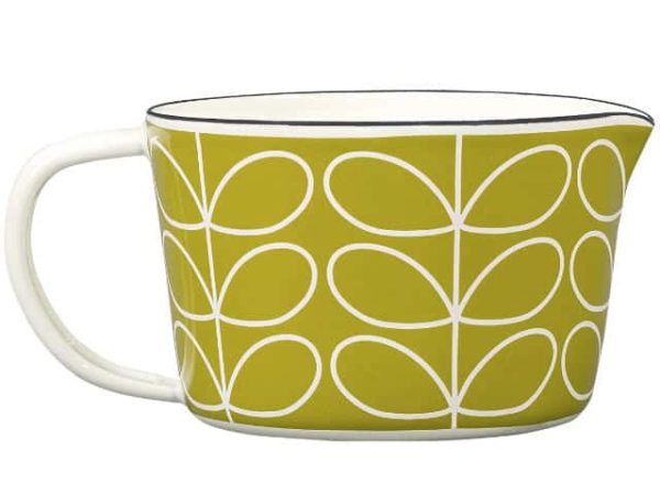 Orla Kiely Enamel Small Measuring Jug Linear Stem Seagrass