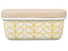 Orla Kiely Enamel Butter Dish Linear Stem Sunshine