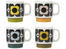 Orla Kiely Stacking Mugs Set of 4 Scribble Square Flower