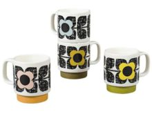 Orla Kiely Stacking Mugs Set of 4 Scribble Square Flower