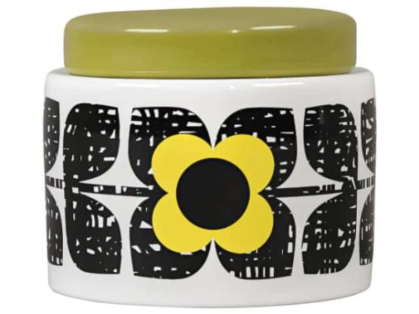 Orla Kiely Small Storage Jar Scribble Square Flower Sunshine