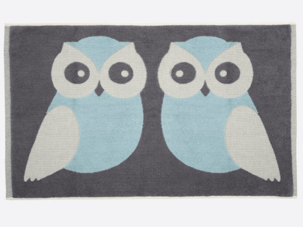 Anorak Blue Kissing Owls Bath Mat