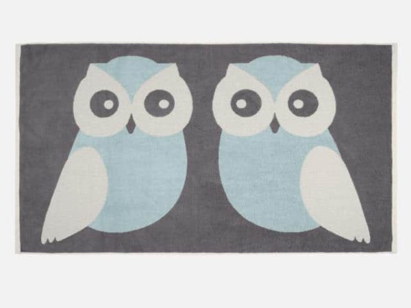 Anorak Blue Kissing Owls Bath Towel