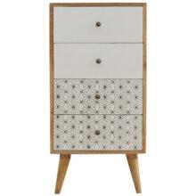 4 Drawer Screen Printed Geometric Tallboy Cabinet