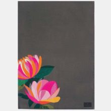 Sara Miller Peony Placement Dark Grey Tea Towel