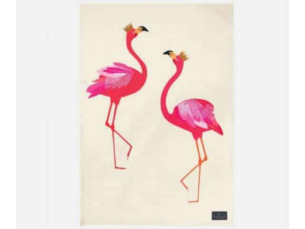 Sara Miller Tea Towel Flamingo Placement Main