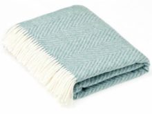 Bronte By Moon Herringbone Merino Lambswool Bright Jade Green Throw