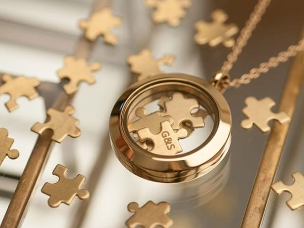 Love You To Pieces Jigsaw Gold Keyring