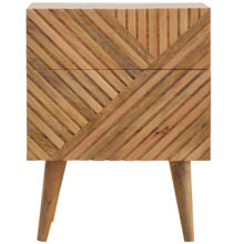 Wooden Line Carved Bedside Cabinet with 2 Drawers