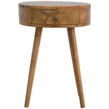 Nordic Circular Wooden Bedside Table