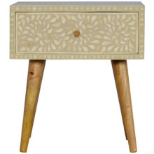 Nordic Style 1 Drawer Grey Floral Bone Inlay Bedside Table