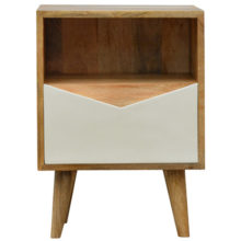 Envelope Style White Painted Drawer Front Bedside Table