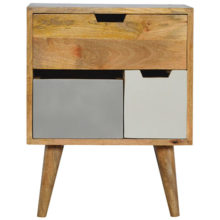 Nordic Style 3 Grey and White Painted Removable Drawers Bedside Cabinet