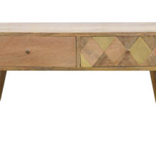 Solid Wood Gold Brass Inlay Coffee Table