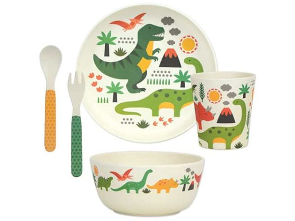 Petit Collage Dinosaurs Kids Bamboo Dinnerware Set