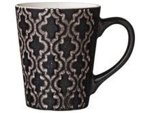 Lene Bjerre Black Abella Geometric Design Mug 350ml