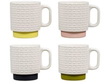 Orla Kiely Stacking Mugs Pressed Flower Set of 4