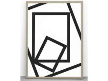 One Must Dash Squared Bold Monochrome Print 30x40cm