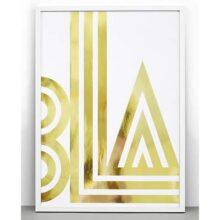 One Must Dash Small Talk Bla Gold Foil Typographic Print 30x40cm