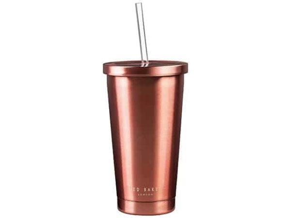Ted Baker Rose Gold Tumbler with Straw