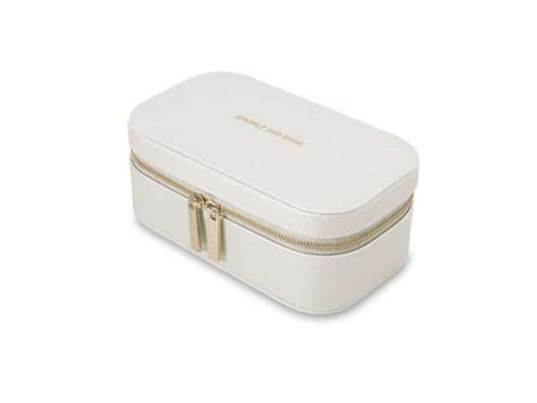 Katie Loxton Sparkle And Shine Metallic White Zipped Travel Jewellery Box