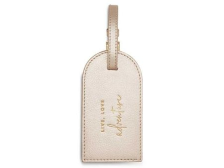 Katie Loxton Metallic Champagne Luggage Tag Live Love Adventure