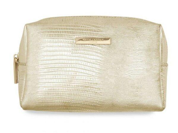 Katie Loxton Make-Up Bag Metallic Lizard Gold