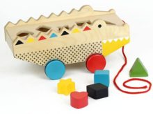 Petit Collage Pull Along Shape Sorter Alligator Toy