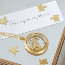 Love You To Pieces Jigsaw Gold Necklace