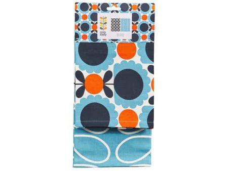 Orla Kiely Tea Towels Set of 2 - Scallop Flower Sky