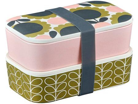 Orla Kiely Bamboo 2 Tier Lunch Box - Scallop Flower Forest