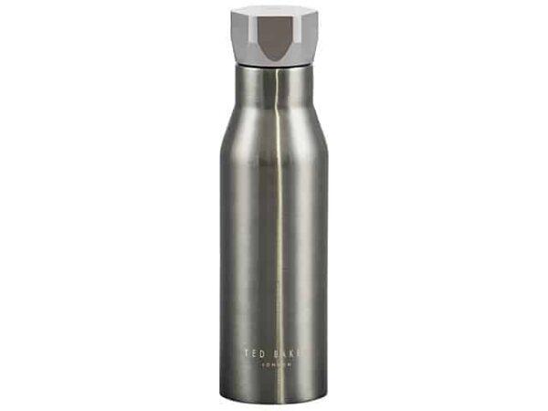 Ted Baker Gunmetal Water Bottle Hexagonal Lid