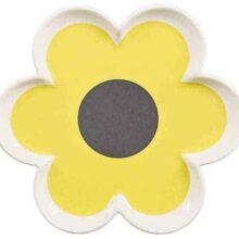 Orla Kiely Ceramic 6 Petal Flower Trinket Tray Ochre